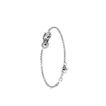 Legends Naga Charm Bracelet in Silver with Diamonds