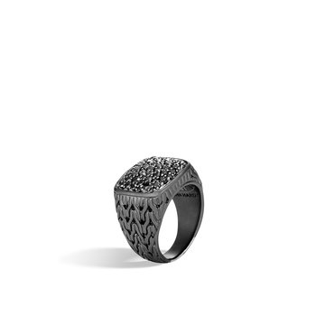 Classic Chain Signet Ring in Blacked Silver with Gemstone