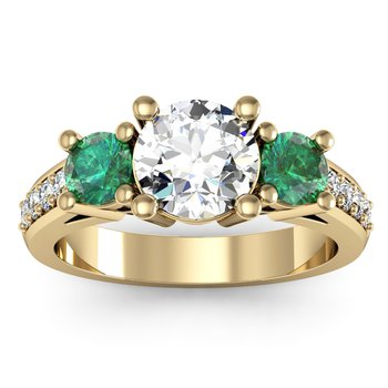 Three Stone Emerald Pave Set Diamond Ring