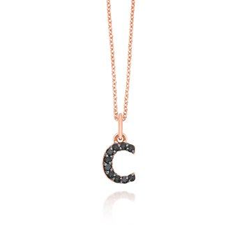 "Black Diamond Baby Block Initial ""C"" Necklace"