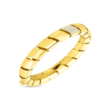 18KT GOLD & DIAMOND TORCHON  FLAT EDGE BANGLE