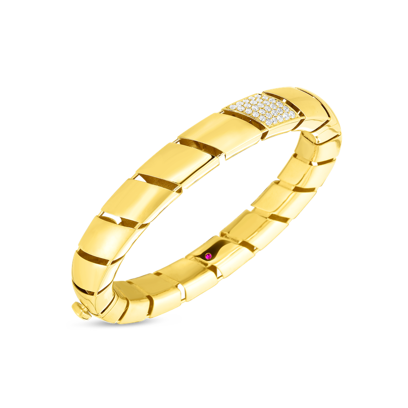 Roberto Coin  #28764 Of 18Kt Gold Bangle With Diamonds