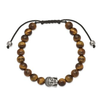Stainless Steel Polished Tiger's Eye Buddha Adjustable Bracelet