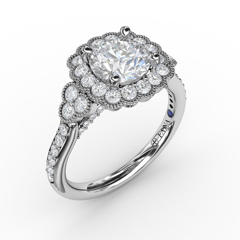 Fana Floral Halo With Diamond Accents Engagement Ring