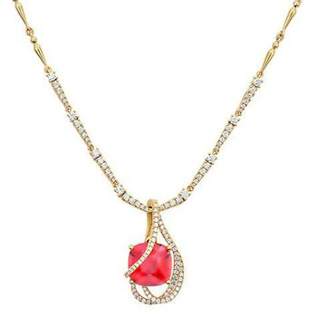Padparadscha Necklace-CN0274YPD
