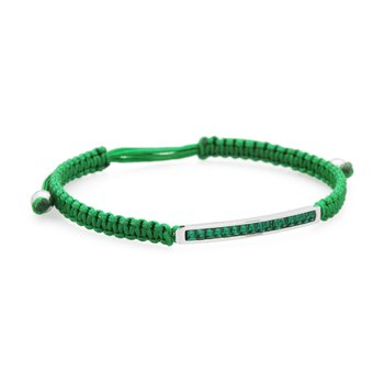 Bracelet. 316L stainless steel, green cotton macramé cord and emerald green Swarovski® Elements crystals