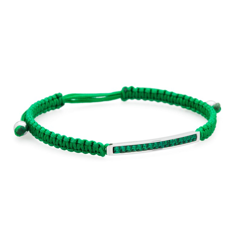 Brosway Bracelet. 316L stainless steel, green cotton macramé cord and emerald green Swarovski® Elements crystals