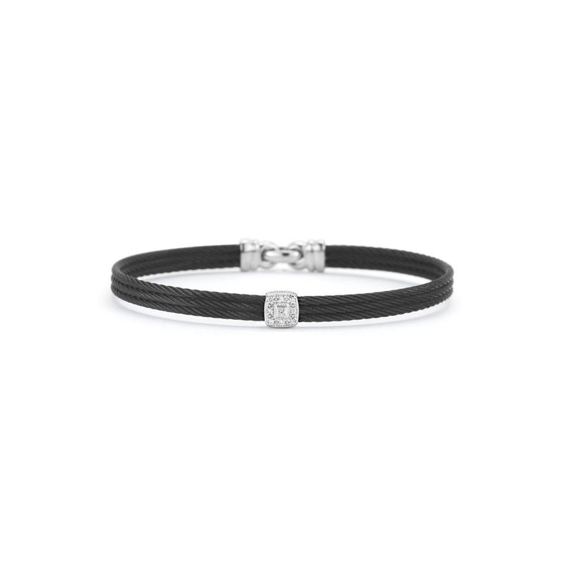ALOR Black Cable Classic Stackable Bracelet with Single Square Station set in 18kt White Gold
