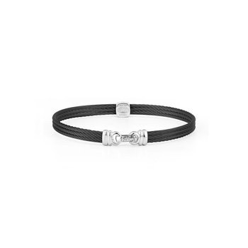 Black Cable Classic Stackable Bracelet with Single Square Station set in 18kt White Gold