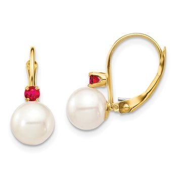 14K 7-7.5mm White Round FWC Pearl Ruby Leverback Earrings