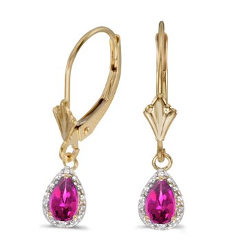 10k Yellow Gold Pear Pink Topaz And Diamond Leverback Earrings