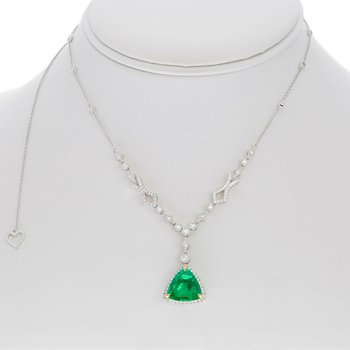 Emerald & Diamond Double Halo Necklace