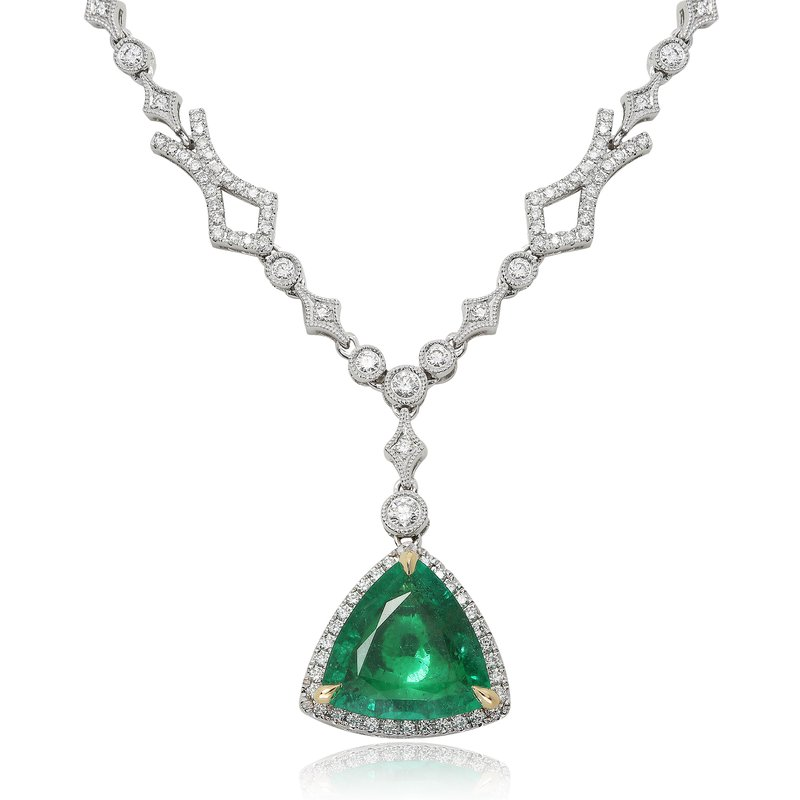 Roman & Jules Emerald & Diamond Double Halo Necklace
