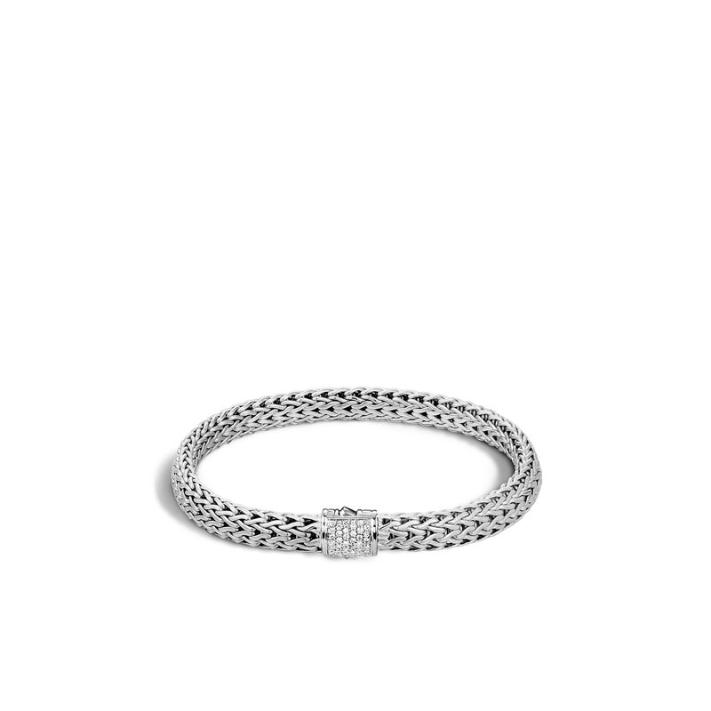JOHN HARDY Classic Chain 6.5MM Bracelet in Silver with Diamonds