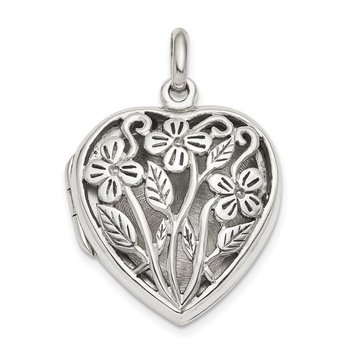 Sterling Silver Filigree Floral Top Polished Back 22mm Heart Locket