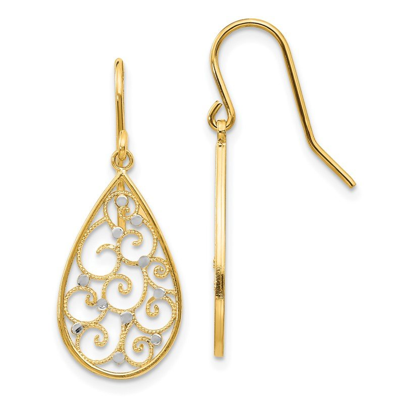 Quality Gold 14k & Rhodium Polished Teardrop Earrings