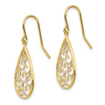 14k & Rhodium Polished Teardrop Earrings
