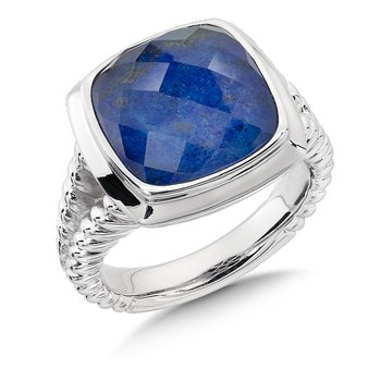 Sterling Silver Lapis & Quartz Colore Fusion Ring