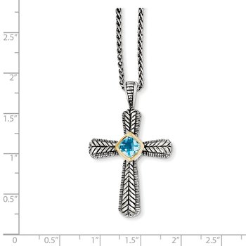 Sterling Silver w/14k Swiss Blue Topaz Necklace