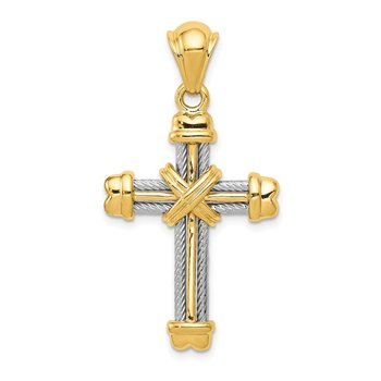 14k Two-tone Cross Pendant