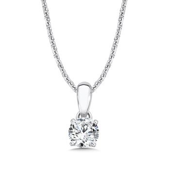 Diamond Solitaire Pendant in 14K White Gold (1/2ct. tw.)