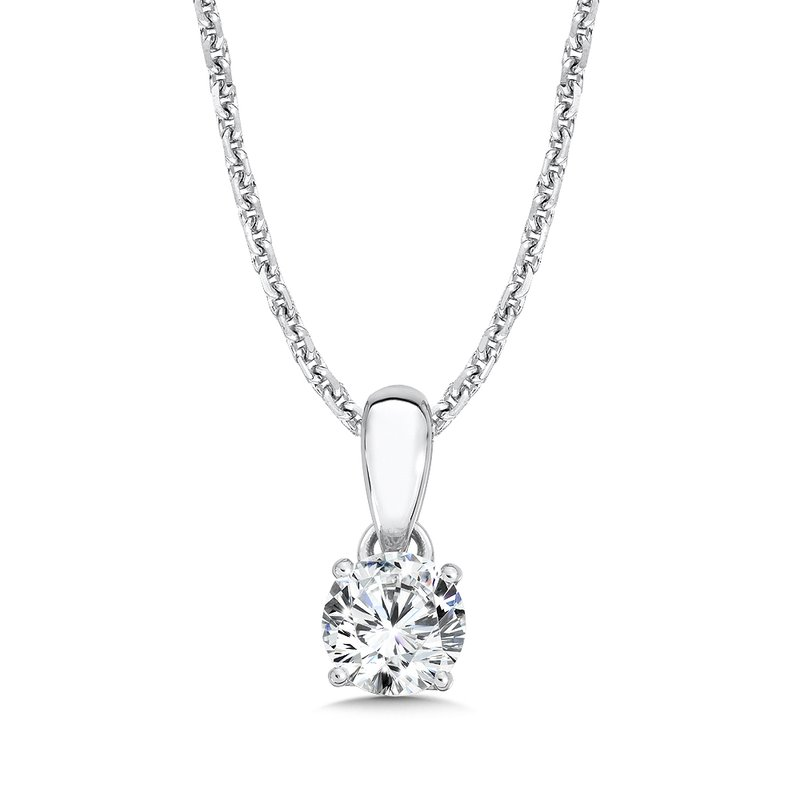Caro74 Diamond Solitaire Pendant in 14K White Gold (1/2ct. tw.)