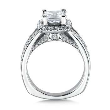 Cushion shape halo mounting .57 ct. tw., 1 1/4 ct. Princess cut center.