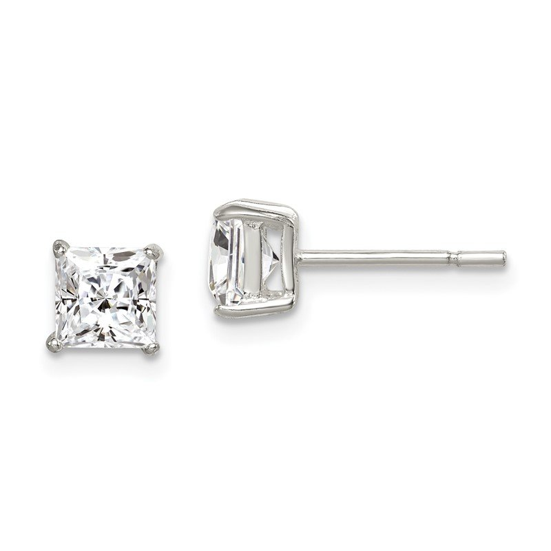 Quality Gold Sterling Silver Polished 5mm Princess CZ Post Earrings