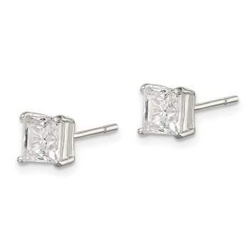 Sterling Silver Polished 5mm Princess CZ Post Earrings
