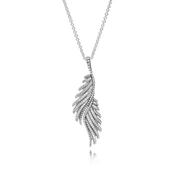 Majestic Feathers Pendant Necklace, Clear CZ