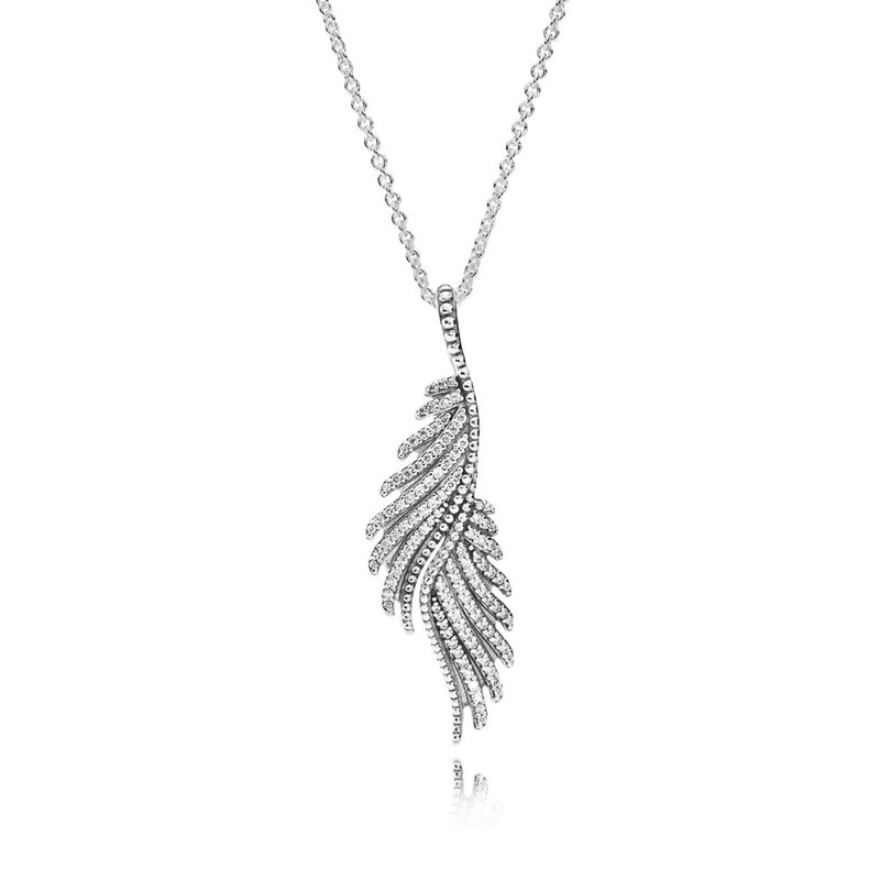 PANDORA Majestic Feathers Pendant Necklace, Clear CZ
