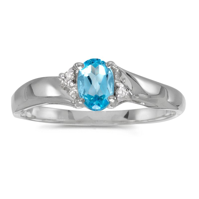 Color Merchants Sterling Silver Oval Blue Topaz And Diamond Ring
