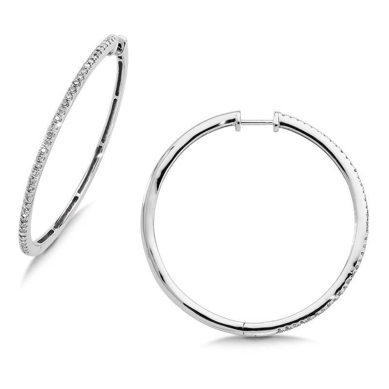 SDC Creations Pave set Slim Diamond Hoops in 14k White Gold (1/5 ct. tw.) GH/SI1-SI2
