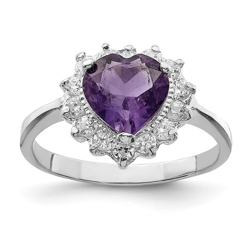 Quality Gold Sterling Silver Rhodium-plated Amethyst and CZ Heart Ring