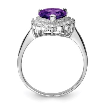 Sterling Silver Rhodium-plated Amethyst and CZ Heart Ring