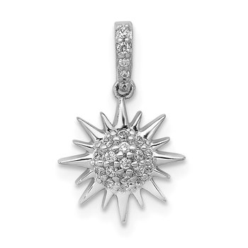 14k White Gold 1/10ct. Diamond Fancy Sun Pendant
