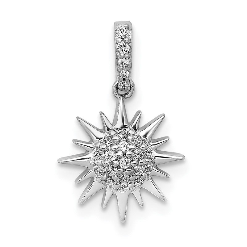 Quality Gold 14k White Gold 1/10ct. Diamond Fancy Sun Pendant