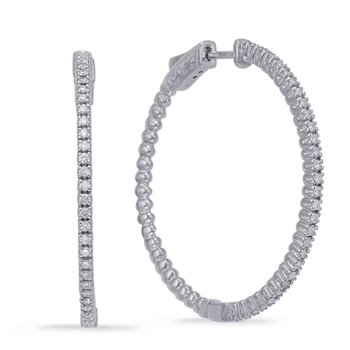 White Gold 1.45 inch Securehinge Hoop