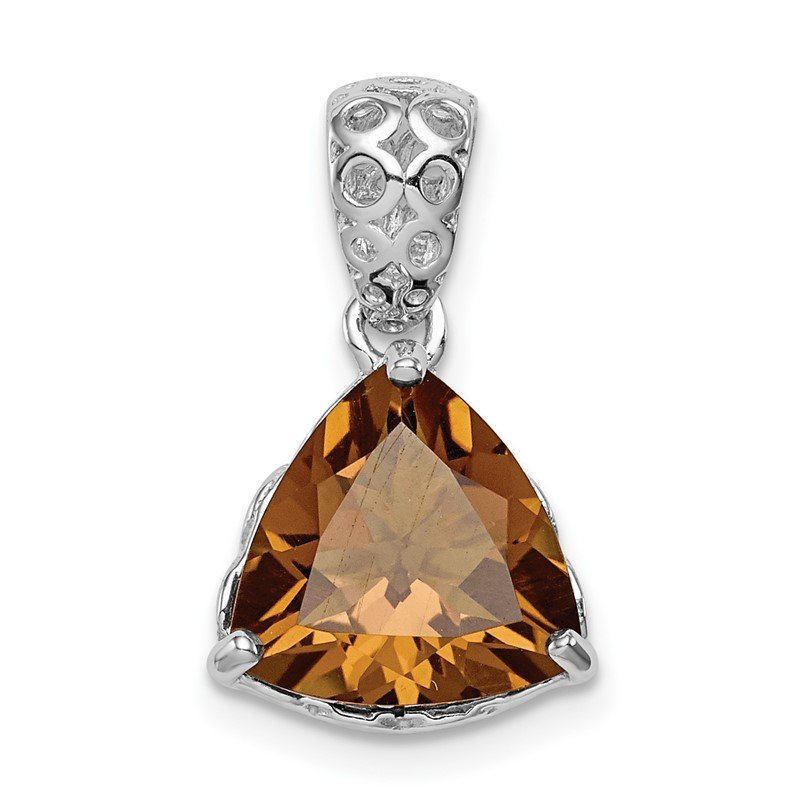 Quality Gold Sterling Silver Rhodium-plated Whiskey Quartz Pendant