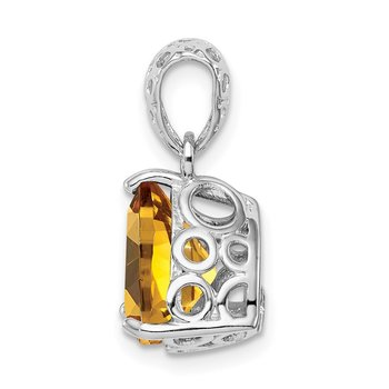 Sterling Silver Rhodium-plated Whiskey Quartz Pendant