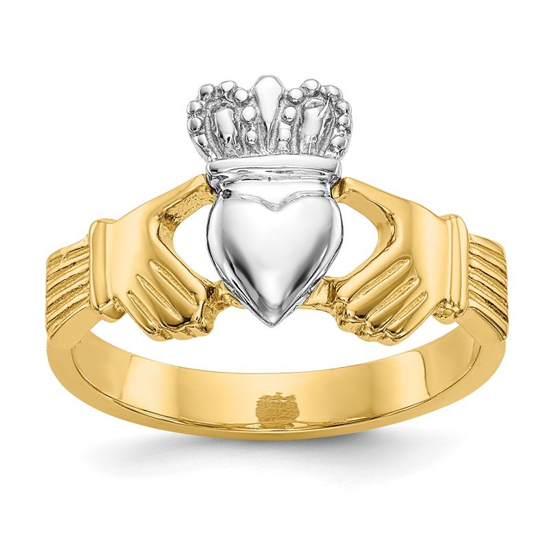 Quality Gold 14k Two-tone Polished Claddagh Ring