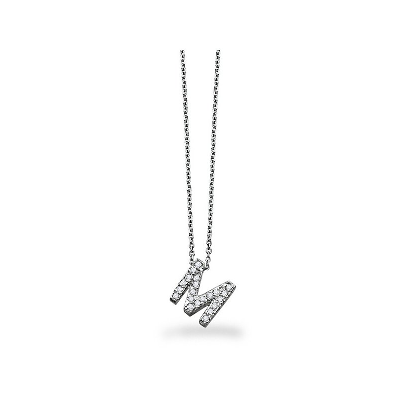 "KC Designs Diamond Block Initial ""M"" Necklace in 14k White Gold with 21 Diamonds weighing .17ct tw."