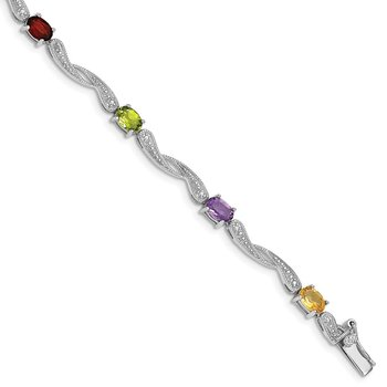 Sterling Silver Rhodium-plated Diamond Multi-Colored Gemstone Bracelet