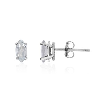 14k White Gold White Topaz Marquise Earrings