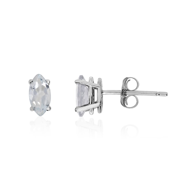 Color Merchants 14k White Gold White Topaz Marquise Earrings