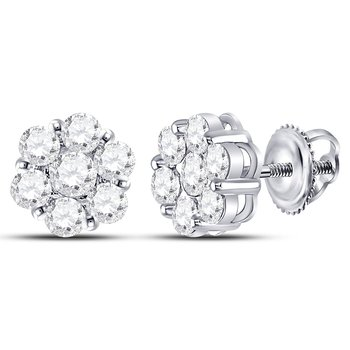 14kt White Gold Womens Round Diamond Flower Cluster Earrings 2.00 Cttw