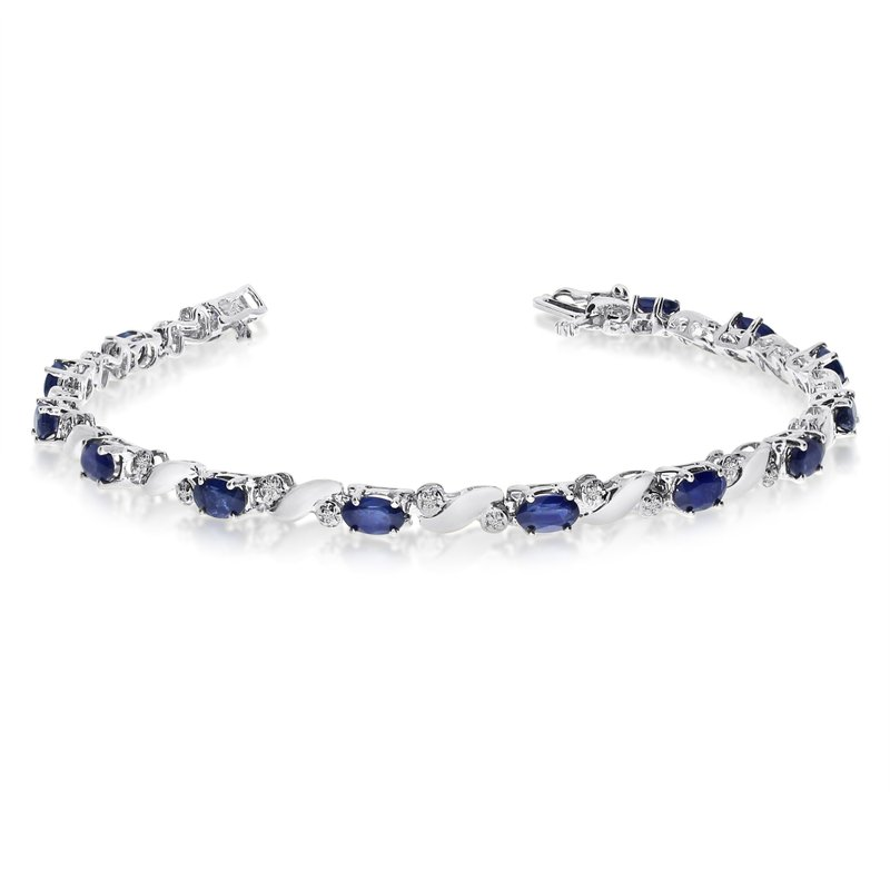 Color Merchants 14k White Gold Natural Sapphire And Diamond Tennis Bracelet