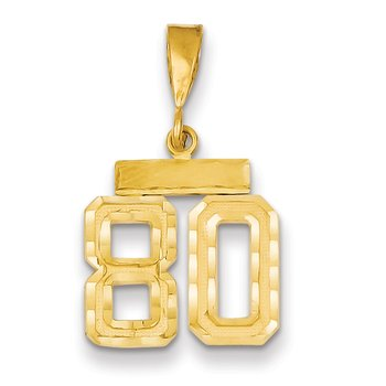 14k Small Diamond-cut Number 80 Charm