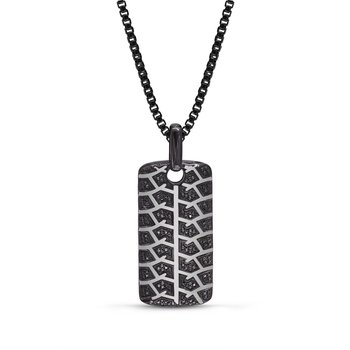 LuvMyJewelry Born Drifter Tire Tread & Black Diamond Tag in Sterling Silver & Black Rhodium