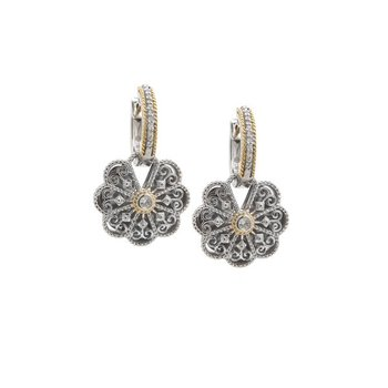 18kt & Sterling Silver Diamond Earrings